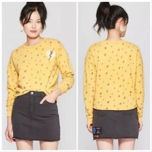 Junk Food   Mustard Yellow Cropped Sweatshirt